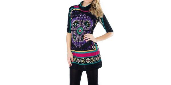 Dámské černé šaty s fialovým elegantním potiskem First