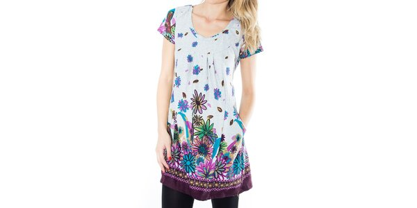 Dámské melírované šaty s barevnými květinami First