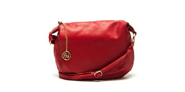 Dámská červená kožená kabelka přes rameno Roberta Minelli