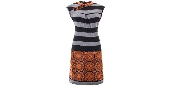 Dámské pruhované šaty s oranžovým potiskem Purple Jam