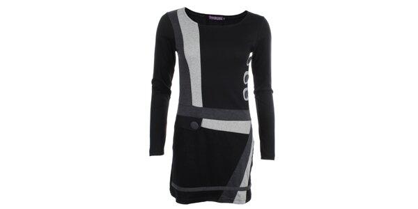Dámské šedo-černé šaty s knoflíky Purple Jam