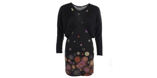 Dámské šaty s netopýřími rukávy a potiskem Purple Jam