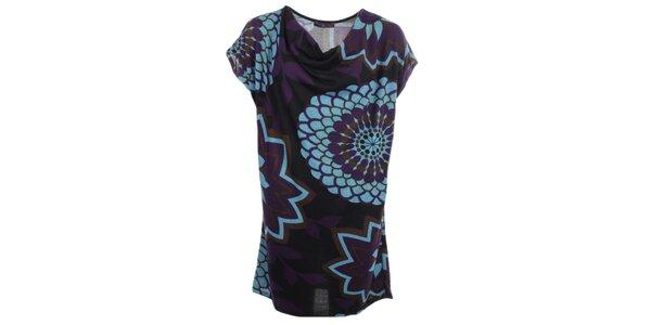 Dámské šaty s tyrkysovými květy Purple Jam