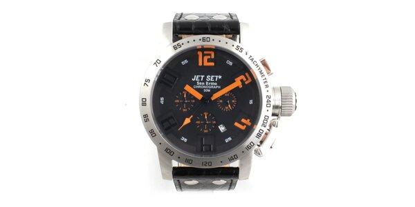 Pánské ocelové hodinky Jet Set s černým koženým řemínkem a oranžovými indexy