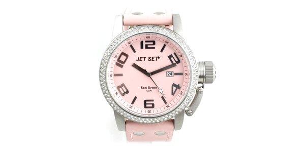 Dámské růžové hodinky Jet Set s koženým řemínkem a kamínky
