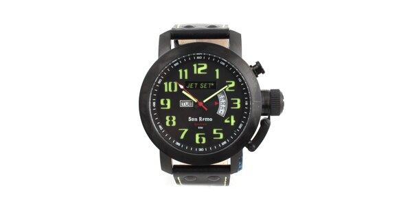 Unisex černé hodinky se zelenými indexy Jet Set