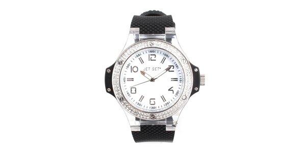 Dámské hodinky s černým řemínkem a kamínky Jet Set