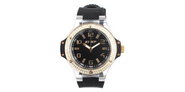 Dámské černé hodinky s kamínky a lunetou ve zlatém tónu Jet Set