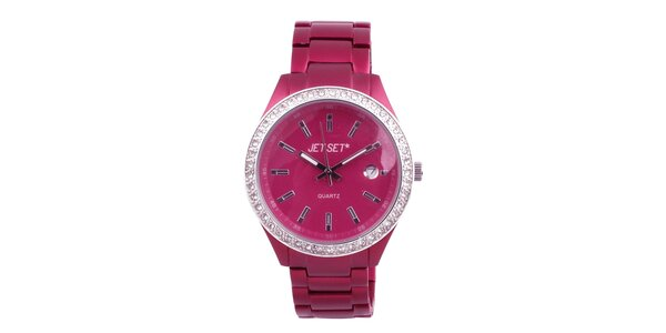 Dámské růžové hodinky s bílými kamínky Jet Set