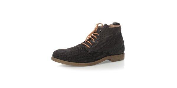 Pánské černé kotníkové šněrovací boty Nobrand