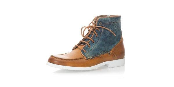 Pánské světle hnědé kotníkové boty s džínovými prvky Nobrand