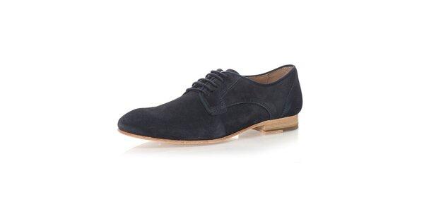 Pánské kožené kotníkové boty v tmavě modré barvě Nobrand