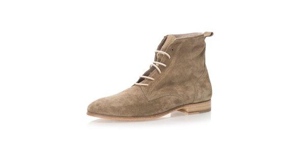 Pánské kožené kotníkové boty v šedo-béžovém odstínu Nobrand