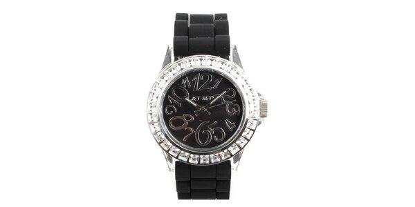 Dámské černé hodinky s hranatými kamínky Jet Set