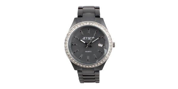 Dámské šedé hodinky s bílými kamínky Jet Set