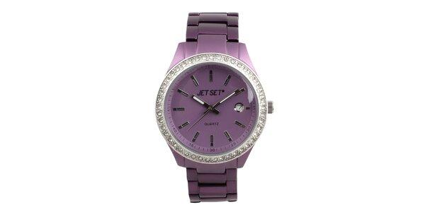 Dámské fialové hodinky s bílými kamínky Jet Set