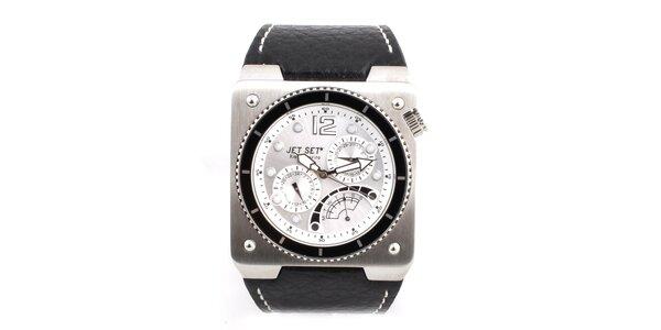 Pánské ocelové hodinky Jet Set s černým koženým řemínkem