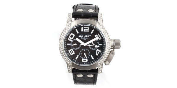 Dámské černo-stříbrné analogové hodinky Jet Set s kamínky
