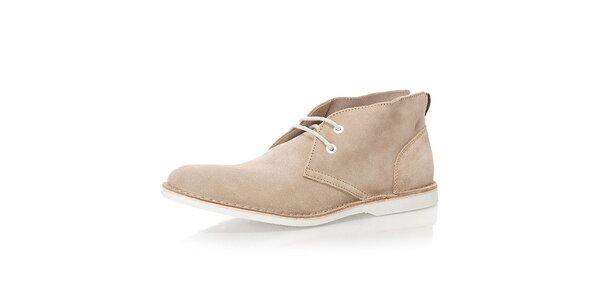Pánské béžové kotníkové boty Nobrand