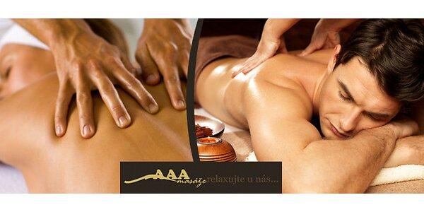 Klasická sportovní masáž zad a šíje, 45 minut