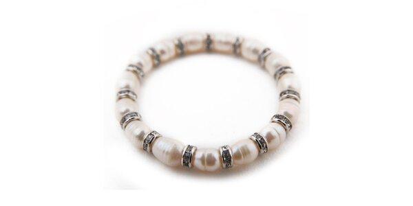 Dámský bílý perlový náramek Orchira
