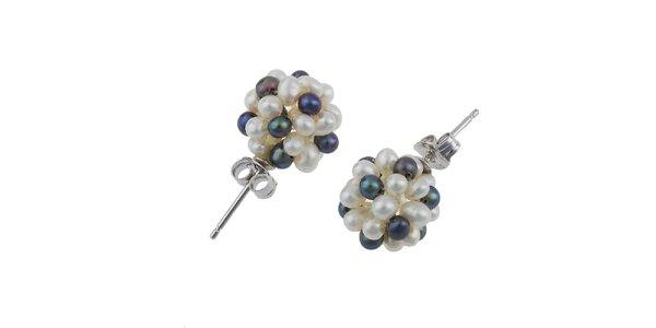 Dámské náušnice s černými a bílými perlami Orchira