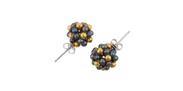 Dámské náušnice s černými perlami a zlatými korálky Orchira