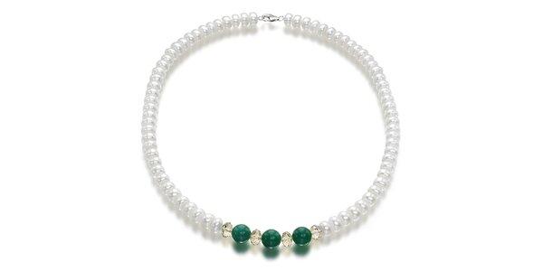 Dámský bílý perlový náhrdelník Orchira se zeleným nefritem