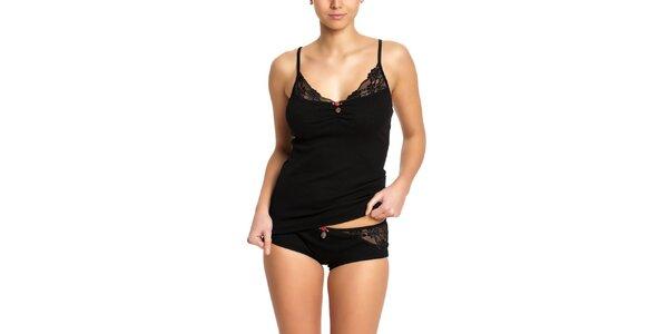 Dámská černá košilka s krajkou a kalhotky Vive Maria