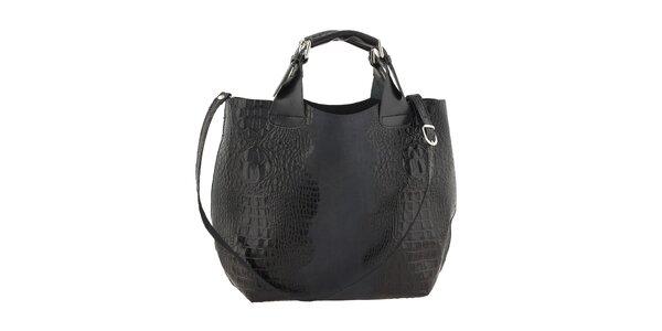 Dámská černá kožená kabelka s krokodýlím vzorem Ore 10