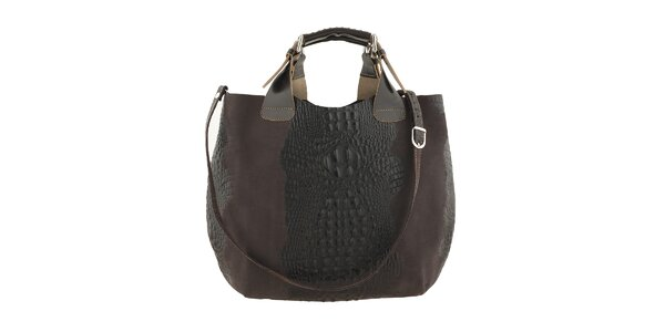 Dámská tmavě hnědá kožená kabelka s krokodýlím vzorem Ore 10