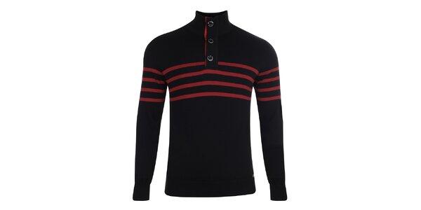 Pánský černý svetr s červenými proužky Giorgio di Mare
