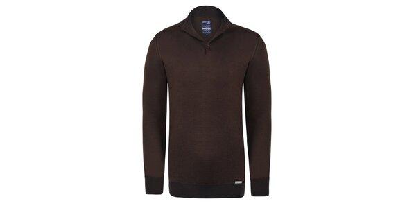Pánský hnědý svetr s černým pruhem Giorgio Di Mare