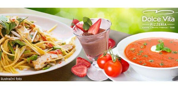 Italské menu pro dva. Polévka, hlavní chod a dezert
