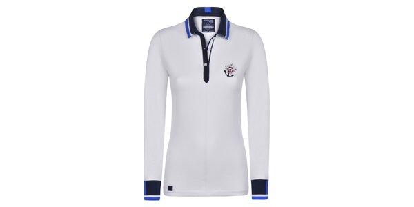 Dámské bílé bavlněné polo triko s kotvičkou Giorgio Di Mare
