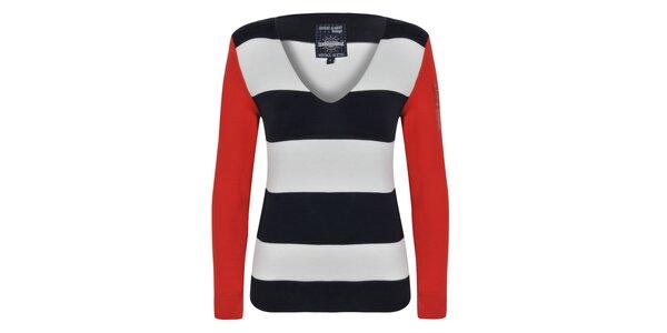 Dámský pruhovaný svetr s červenými rukávy Giorgio Di Mare