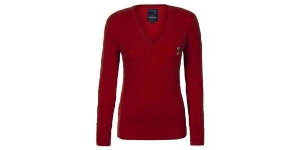 Dámský červený svetřík s plastickým vzorem Giorgio di Mare