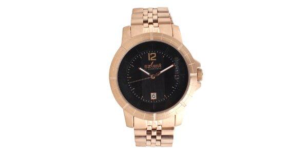 Ocelové hodinky s tmavým ciferníkem Axcent