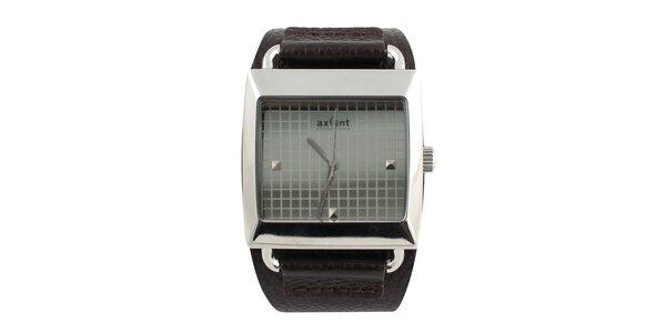 Hranaté hodinky s koženým řemínkem Axcent