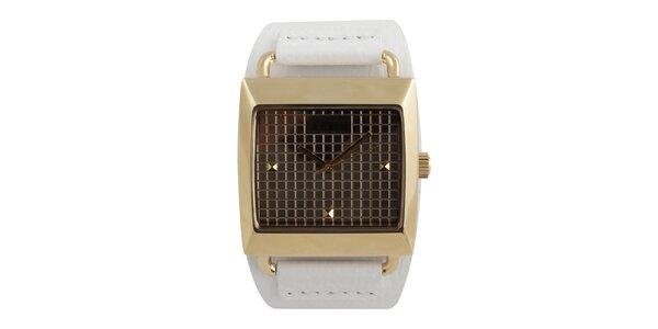 Dámské hranaté hodinky s bílým koženým řemínkem Axcent