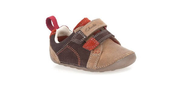 Dětské hnědé kožené boty Clarks