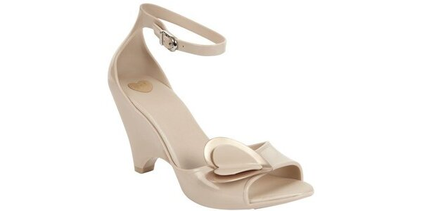 Dámské béžové sandály Mel na vysokém klínku