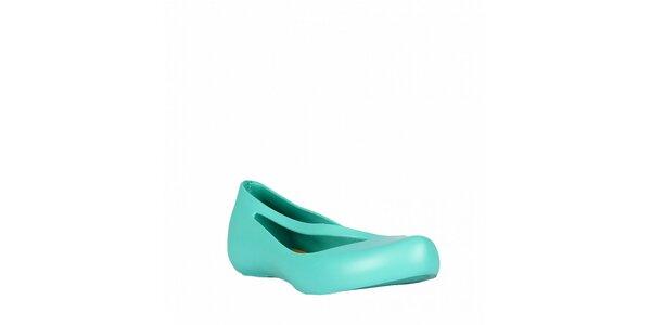 Dámské tyrkysově modré balerínky Mel s potištěnou stélkou