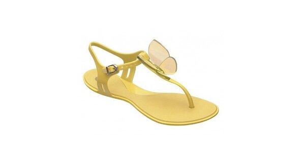 Dámské žluté sandály Mel s motýlkem