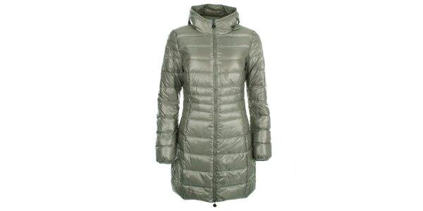 Dámský lesklý šedozelený prošívaný kabát LWJ Collection