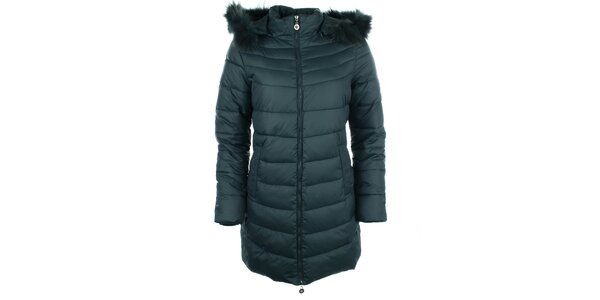 Dámský tmavozelený kabát Fly Moda