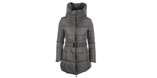 Dámský hnědý kabátek s vysokým rolákem Fly Moda