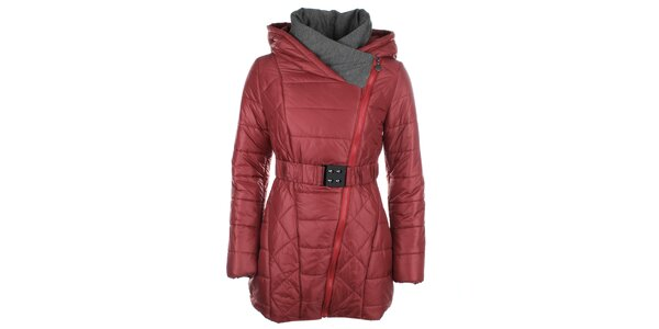 Dámský vínový kabátek se šikmým zipem Fly Moda