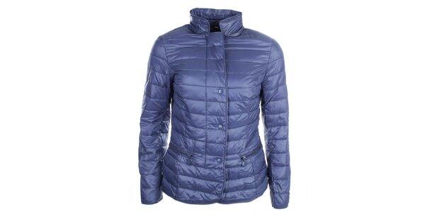 Dámská modrá bunda s puntíkatou podšívkou DJ85°C