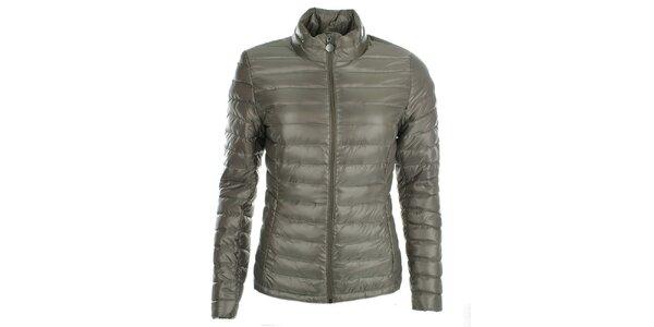 Dámská šedozelená péřová bunda LWJ Collection